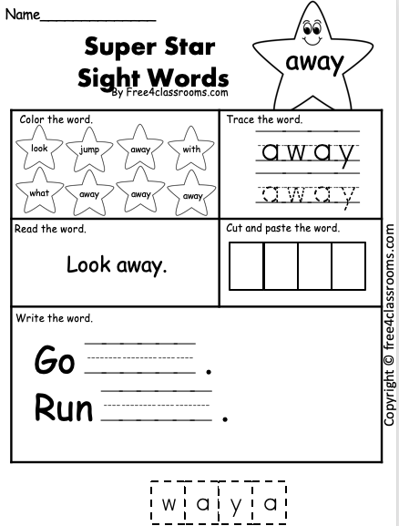 Dolch Sight Word - away