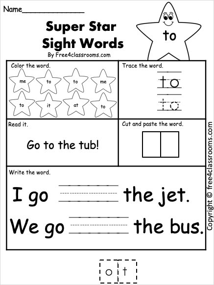 Dolch Sight Word - to