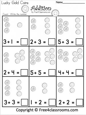 Free Kindergarten Math St. Patrick's Day Addition Worksheet