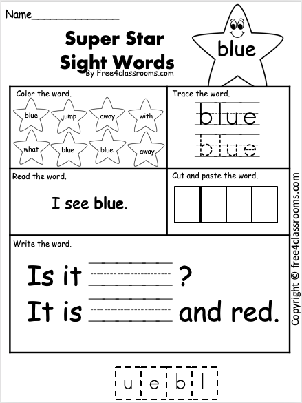 Sight Word Worksheet - blue