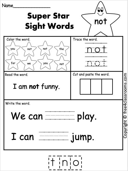 Sight Word Worksheet - not