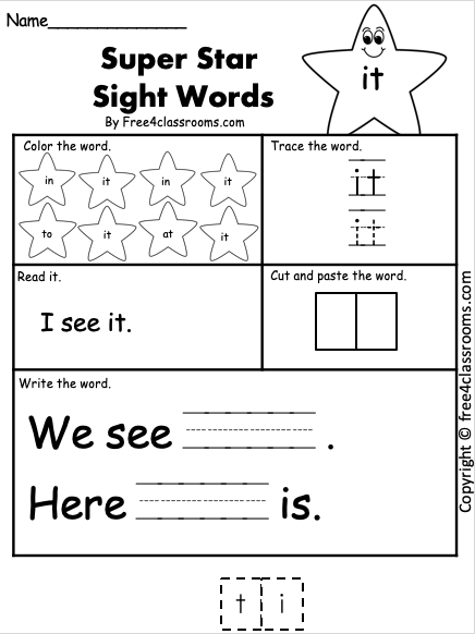 Dolch Sight Word Worksheet - it