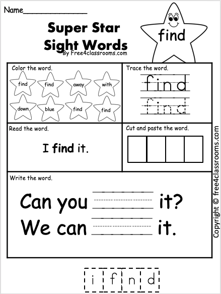 Sight Word Worksheet - find