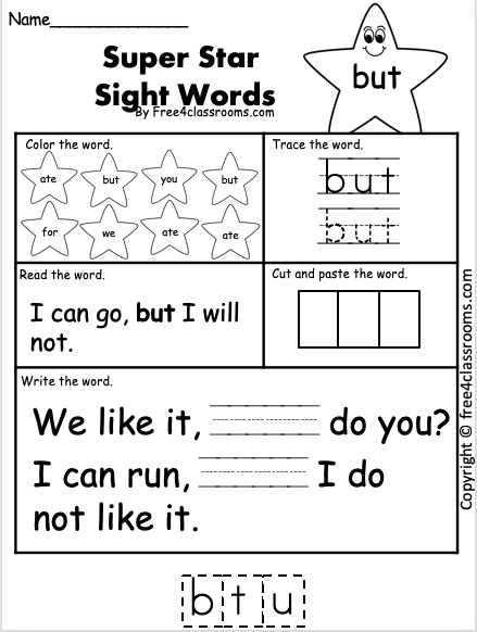 Sight Word Worksheet - But