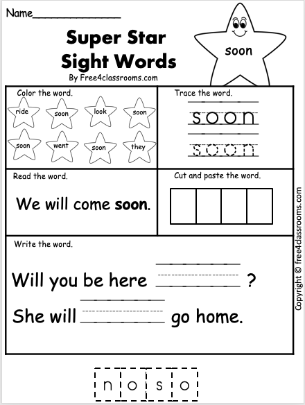 Sight Word Worksheet - Soon