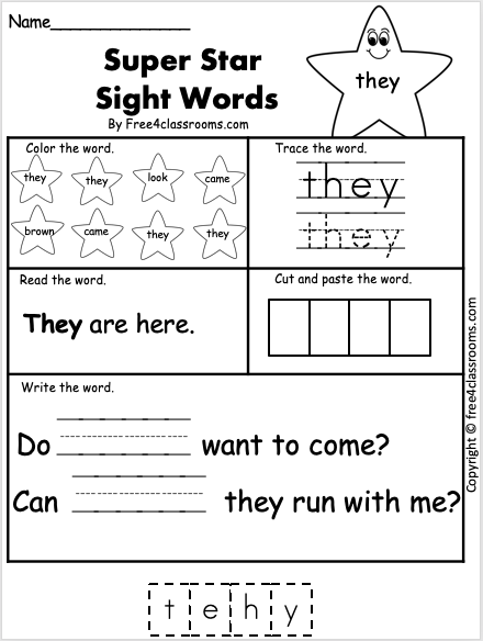 Sight Word Worksheet - They