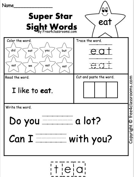 Sight Word Worksheets - eat