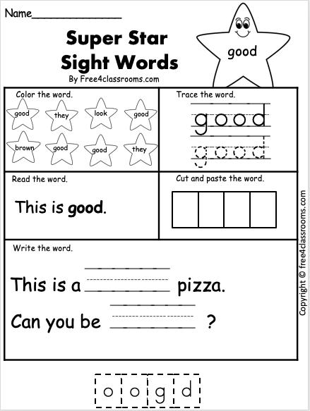 Sight Word Worksheet - good