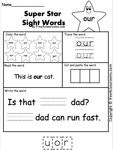 Sight Word Worksheets - our