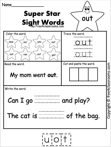 Sight Word Worksheets - out