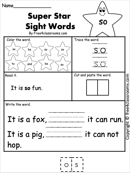Sight Word Worksheets - so