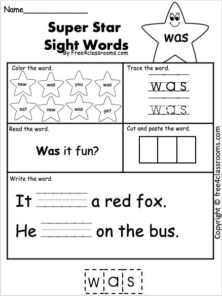 Sight Word Worsheet - was