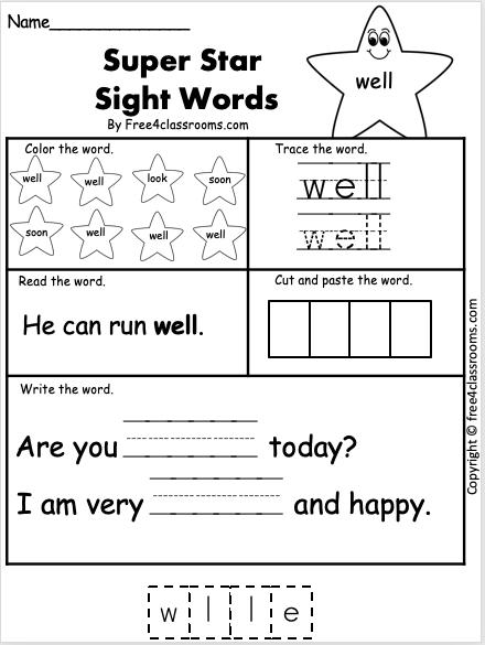 Sight Word Worksheet - well