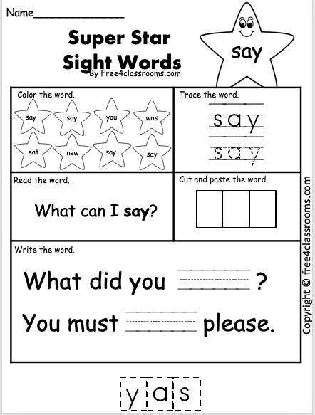 Sight Word Worksheets say