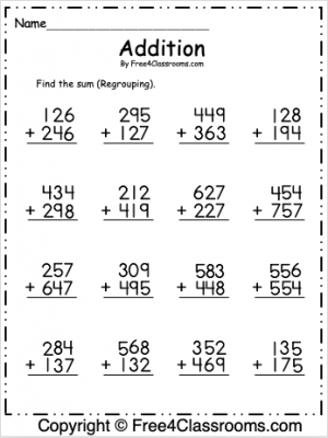 Free 3 Digit Addition Regrouping