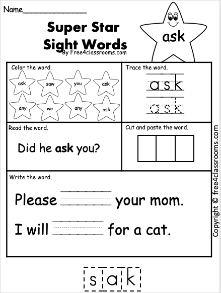 Free Sight Word Worksheets - Ask