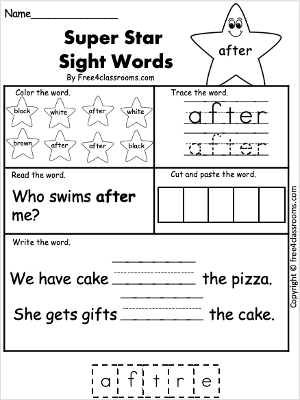 Free Sight Word Worksheet - After