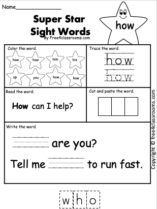 Free Sight Word Worksheet for 1st Grade - how