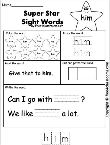 Free Sight Word Worksheet - him