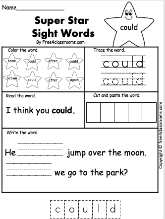 Free Sight Word Worksheets - could