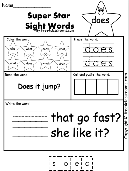 Free Sight Word Worksheet - (does)