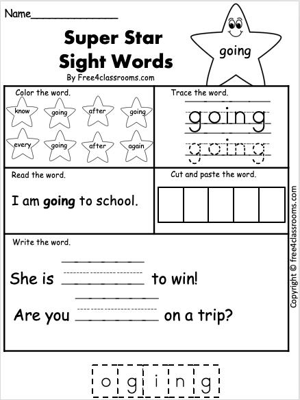 Free Sight Word Worksheet - going