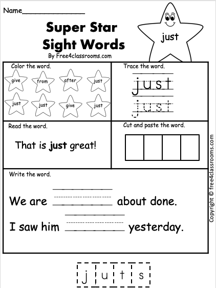 Free Sight Word Worksheet - just