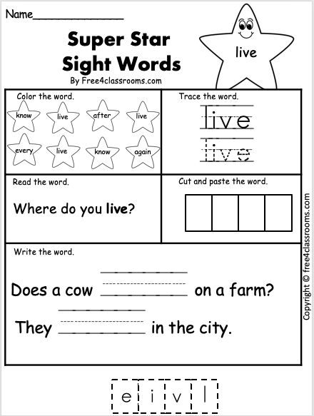 Free Sight Word Worksheet - live