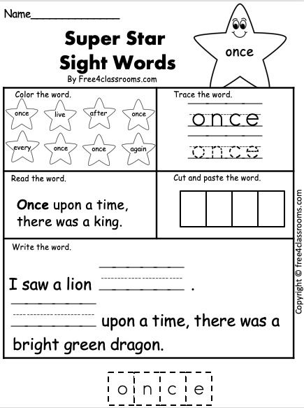 Free Sight Word Worksheet - once