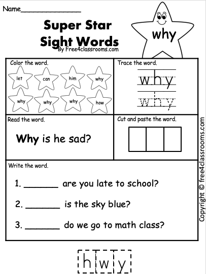 Free Sight Word Worksheet - why