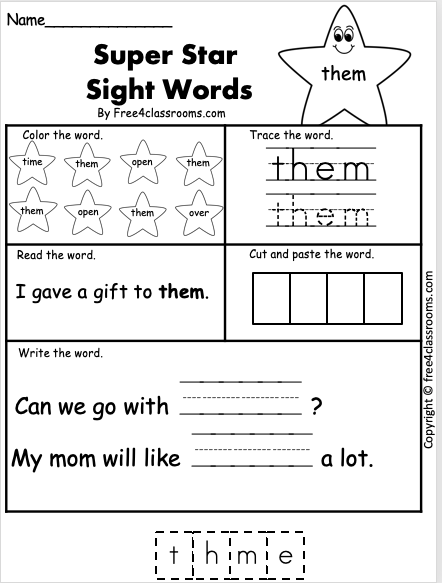 Free Sight Word Worksheet - them
