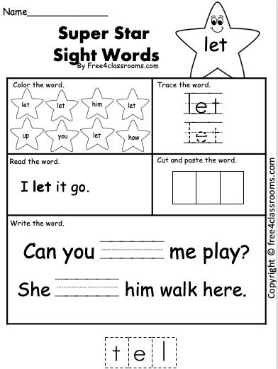 Free Sight Word Worksheet - let