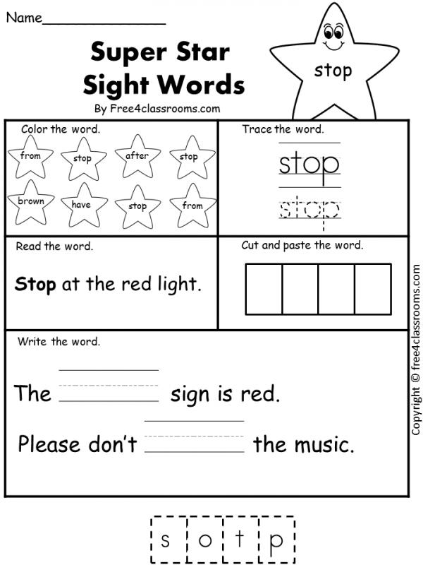 Free Sight Word Worksheet - (stop)